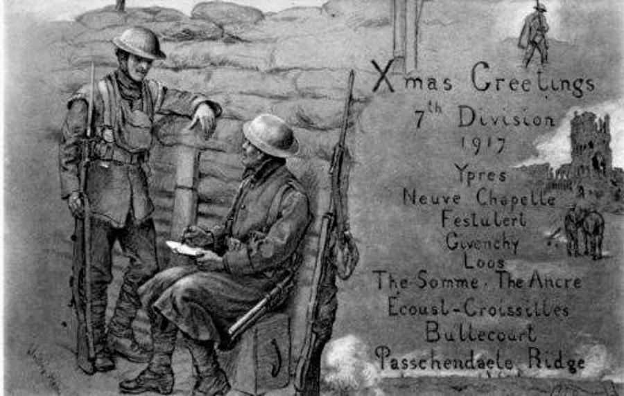 WW1 BRITISH DIVISION CHRISTMAS CARDS