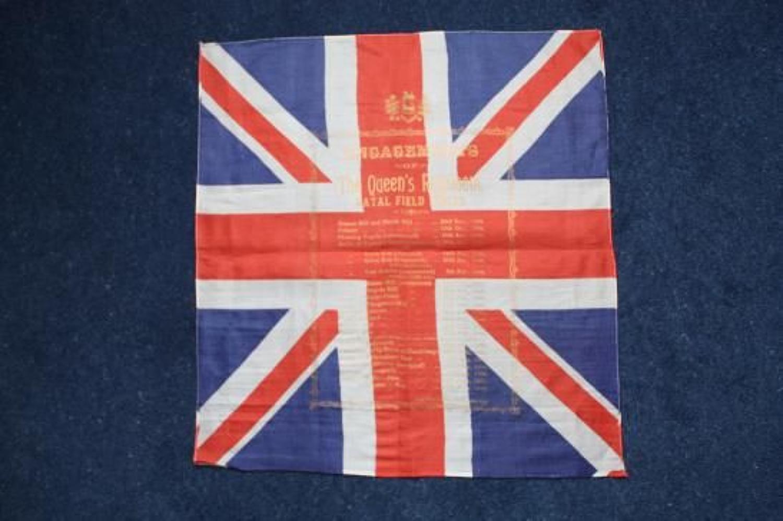 Boer War Souvenir Silk Scarf: Details of Actions Fought by the Queens Regiment.