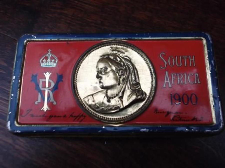 CHRISTMAS 1900 QUEEN VICTORIA BOER WAR CHOCOLATE TIN