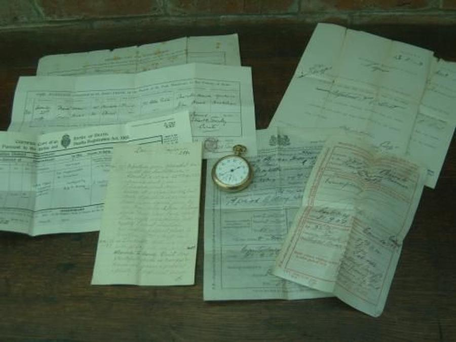 Boer War veterans Gold pocket watch,discharge papers and Diary.
