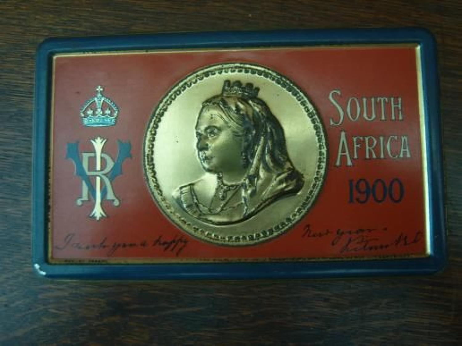 CHRISTMAS 1900 QUEEN VICTORIA CHOCOLATE IN BOER WAR TIN