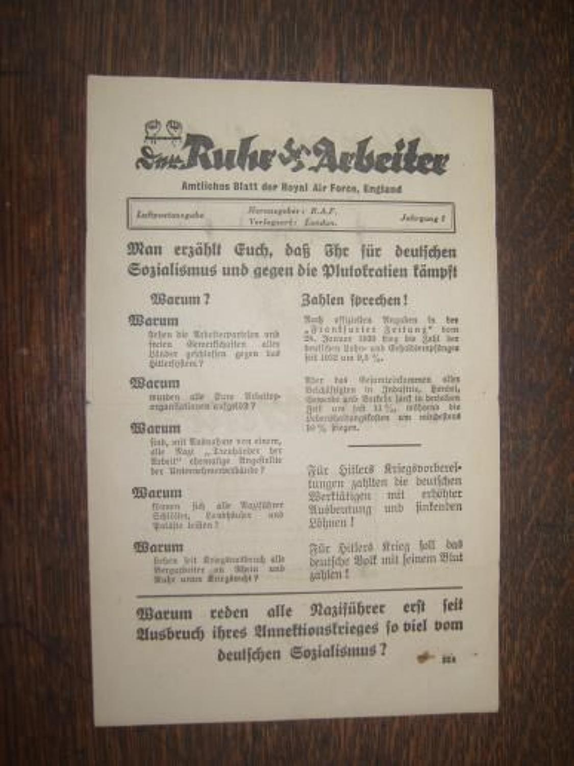 WW2 RAF Propaganda leaflet dropped on Germany
