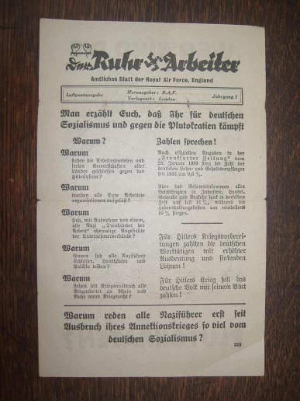 WW2 RAF Propaganda leaflet dropped on Germany.