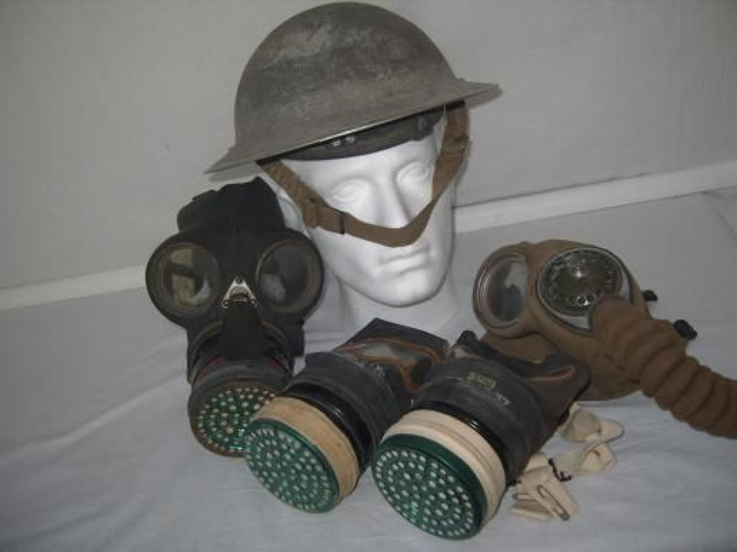 WW2 HOME FRONT GAS MASKS & HELMET