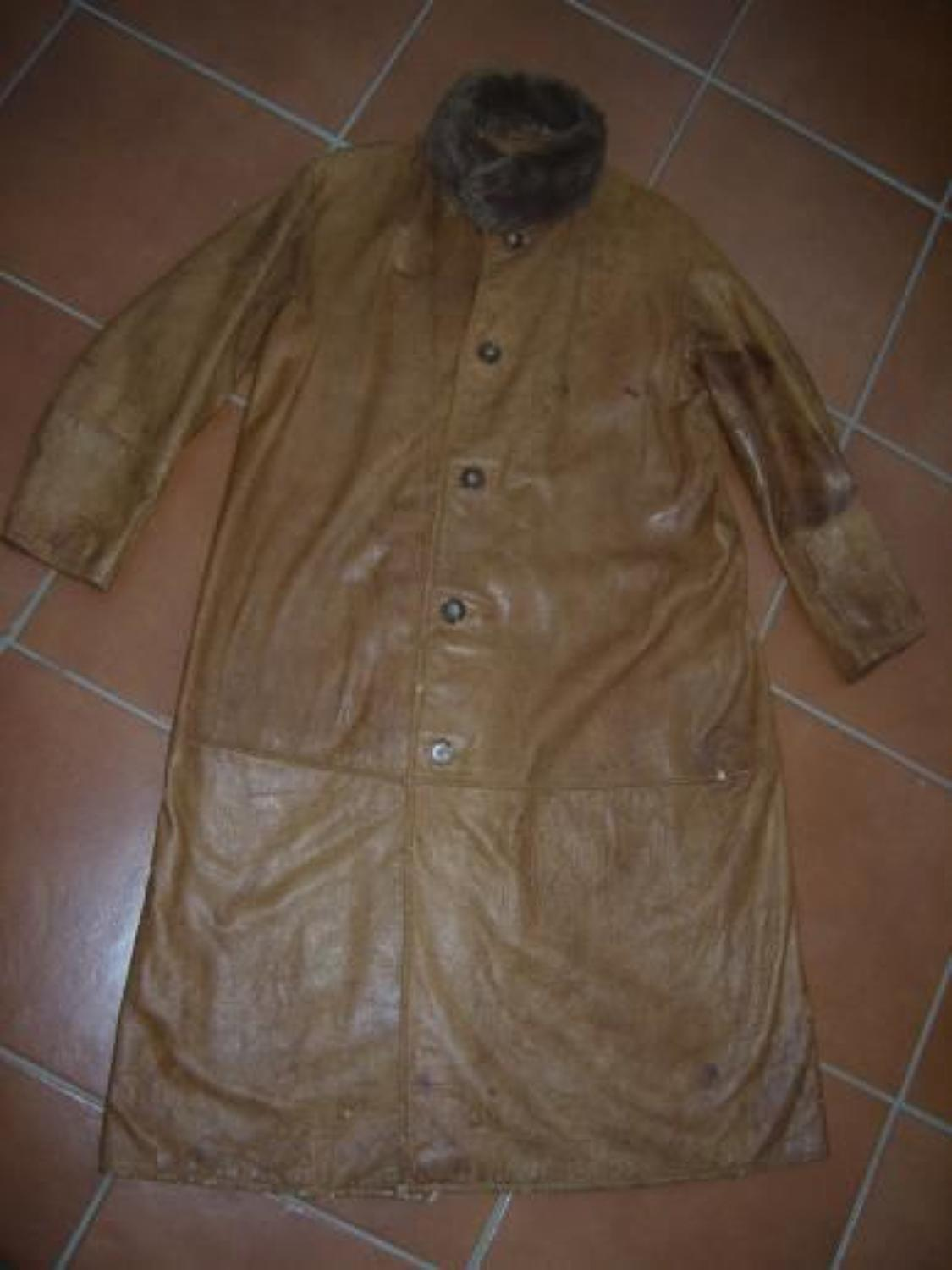 WW1 LONG LEATHER TAN FLYING OR MOTORING COAT