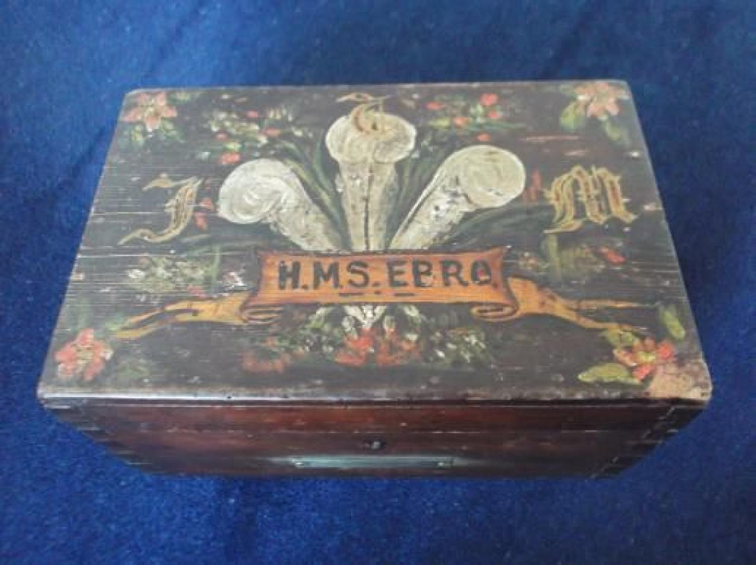 WW1 Royal Navy Ditty Box Painted Ships Name & Crest to lid