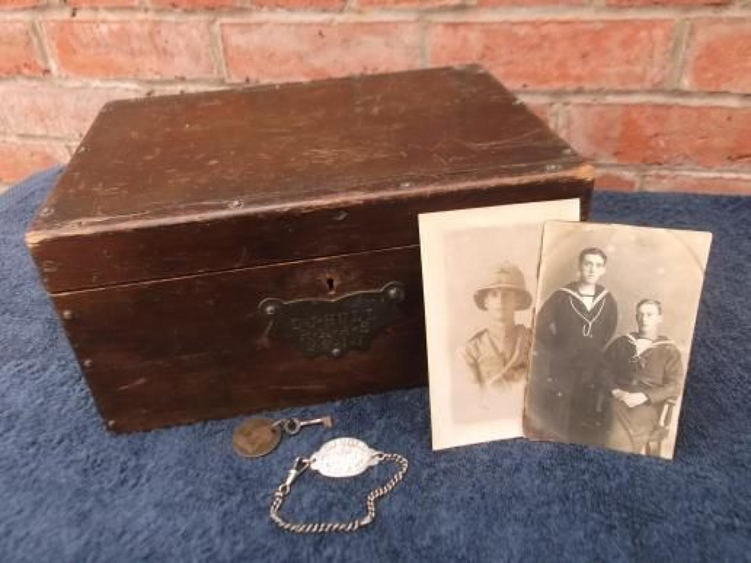 Royal Naval Air Service Ditty Box and ID Bracelet Tag & photographs