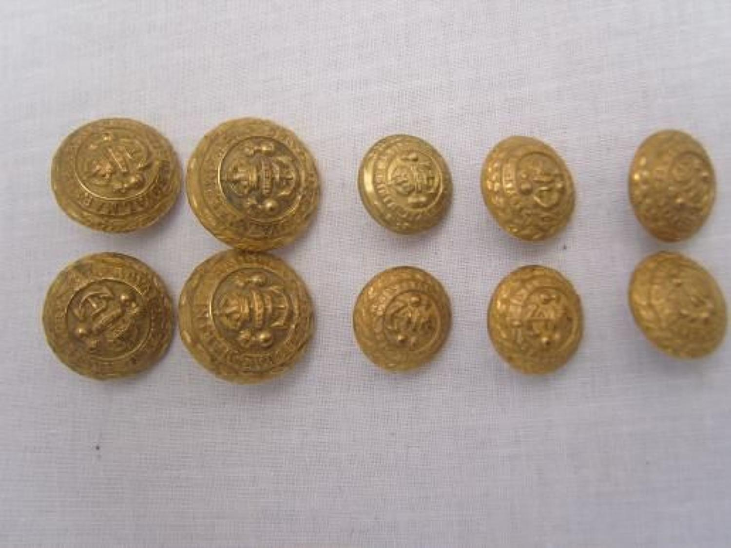 WW1 Full Set of 10 brass buttons to the Royal Marine Artillery