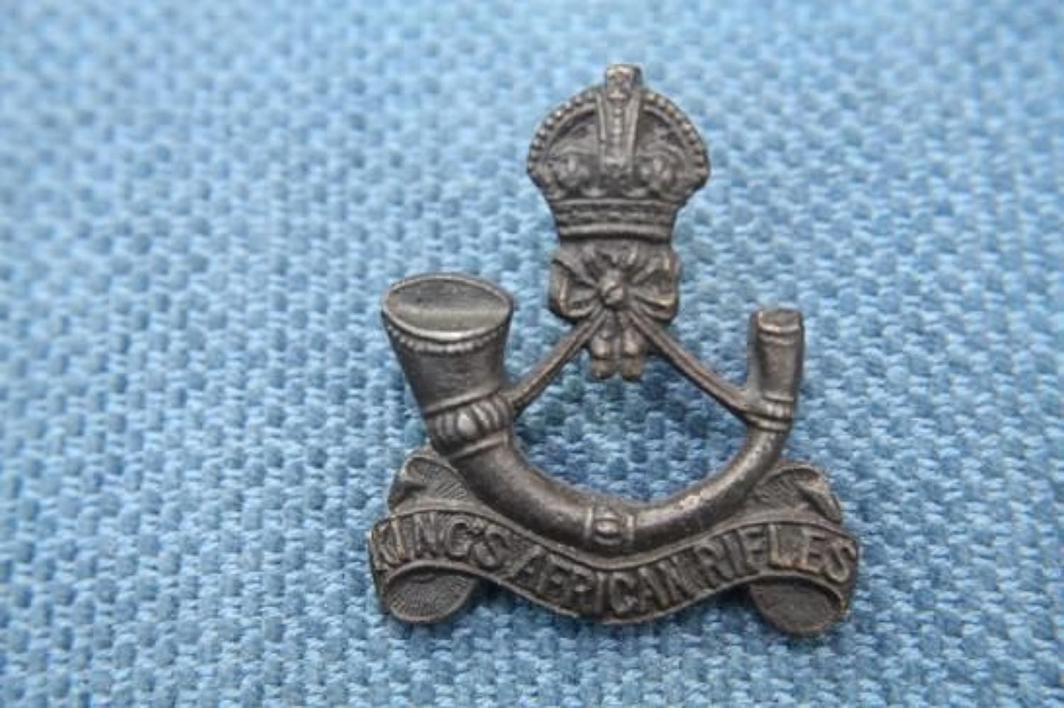 Original Bronze WW1 British Army Officer's Cap Badge. Kings African Ri