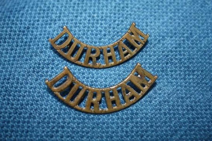 Pair of WW1 Brass shoulder titles. Durham Light Infantry Regiment