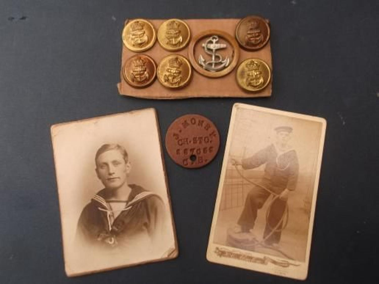 ROYAL NAVY IDENTFICATION TAG & PHOTOGRAPHS