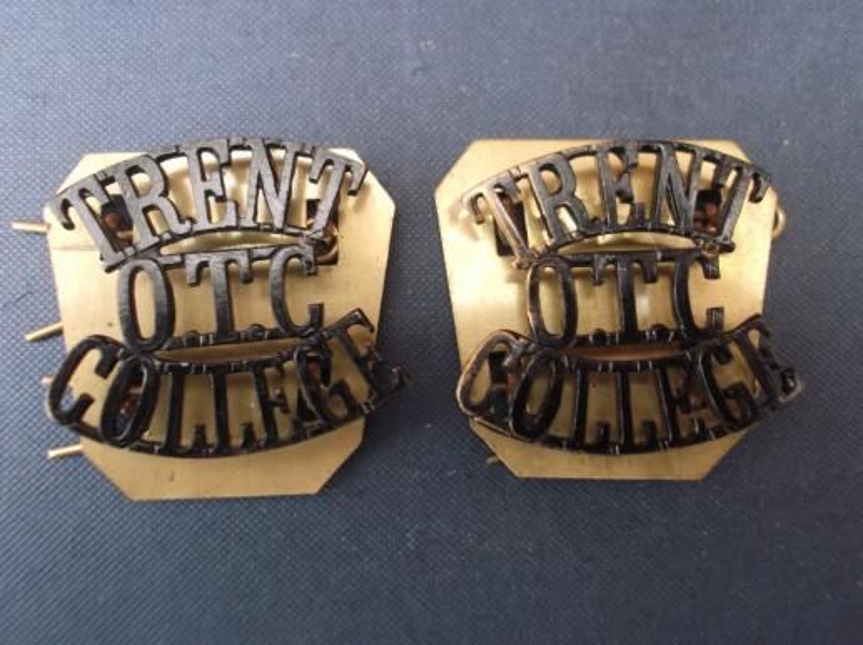 Pair of WW1 Blackened Brass OTC shoulder titles. Trent OTC College