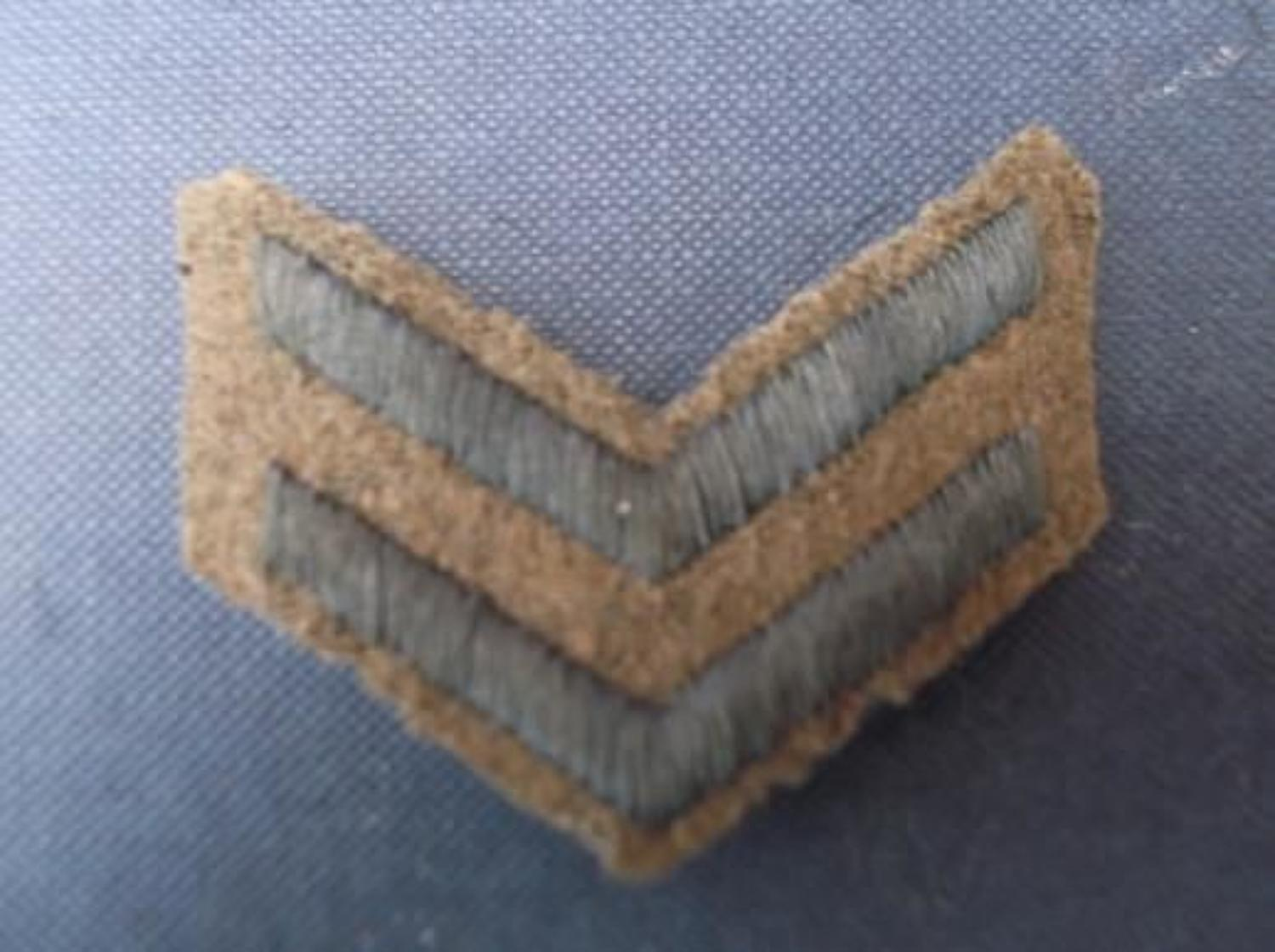 WW1 British soldiers khaki overseas stripes, 2 blue stripes.