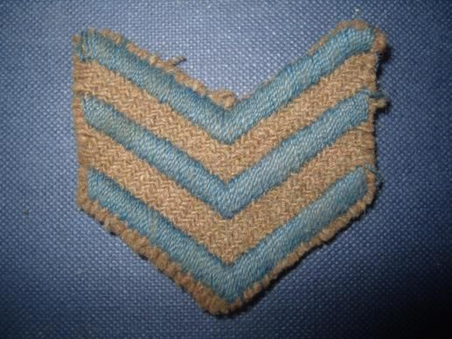 WW1 British soldiers overseas stripes, 3 blue.
