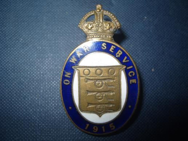 Civilian WW1 Enamel 1915 War Service badge