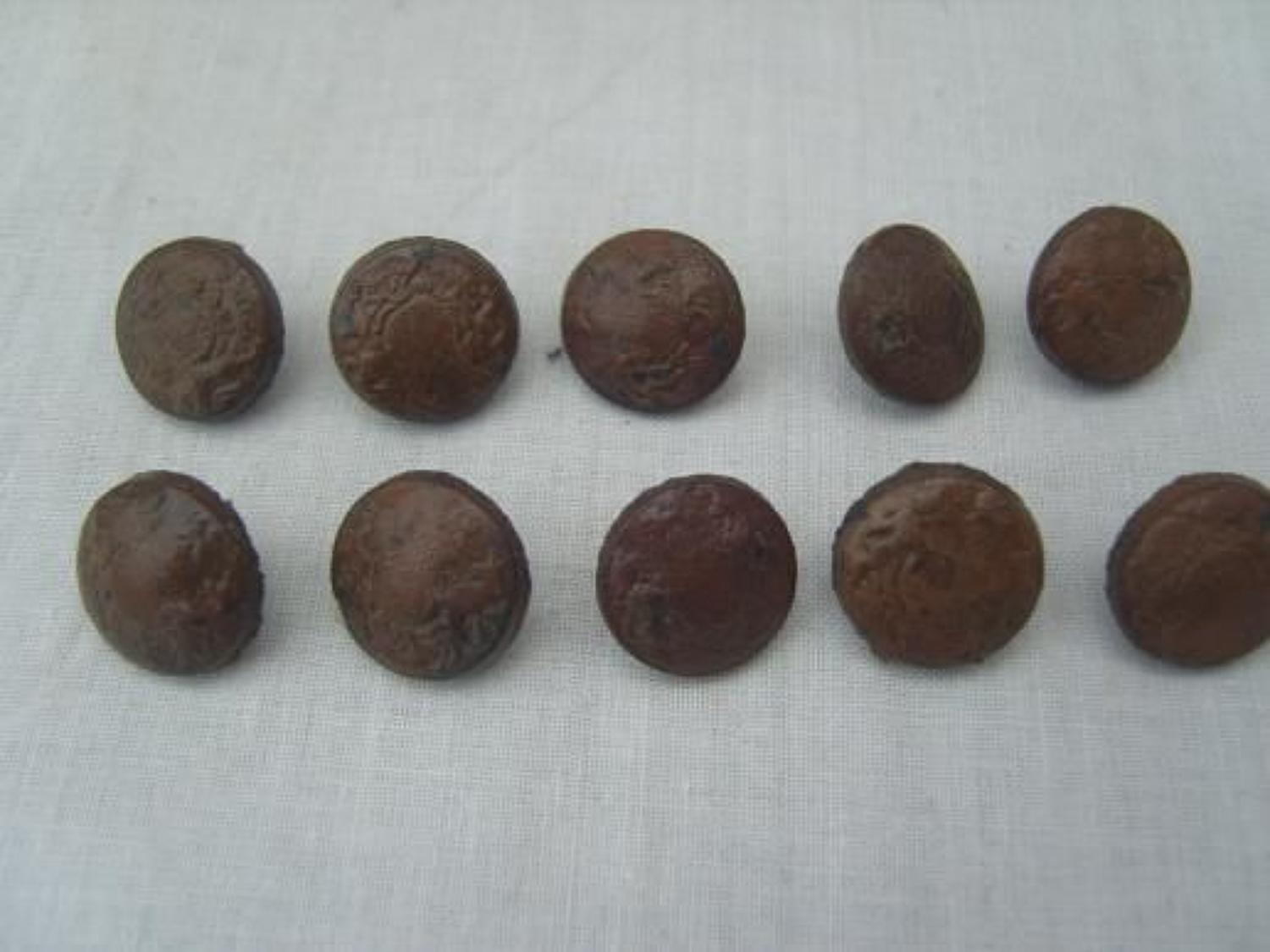 WW1 set of Leather British general service buttons.