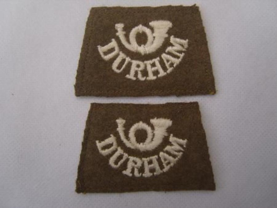WW1 BRITISH ARMY DURHAM SLIP ON SHOULDER TITLES