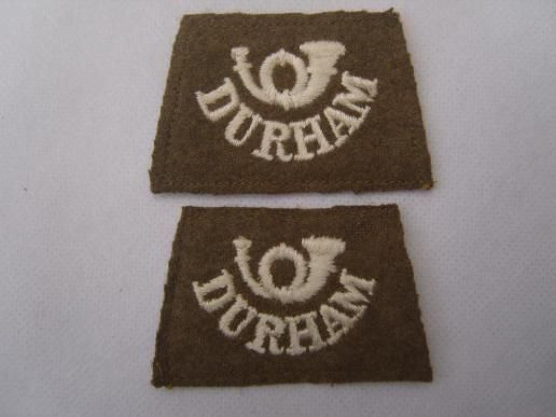WW1 BRITISH ARMY DURHAM SLIP ON SHOULDER TITLES
