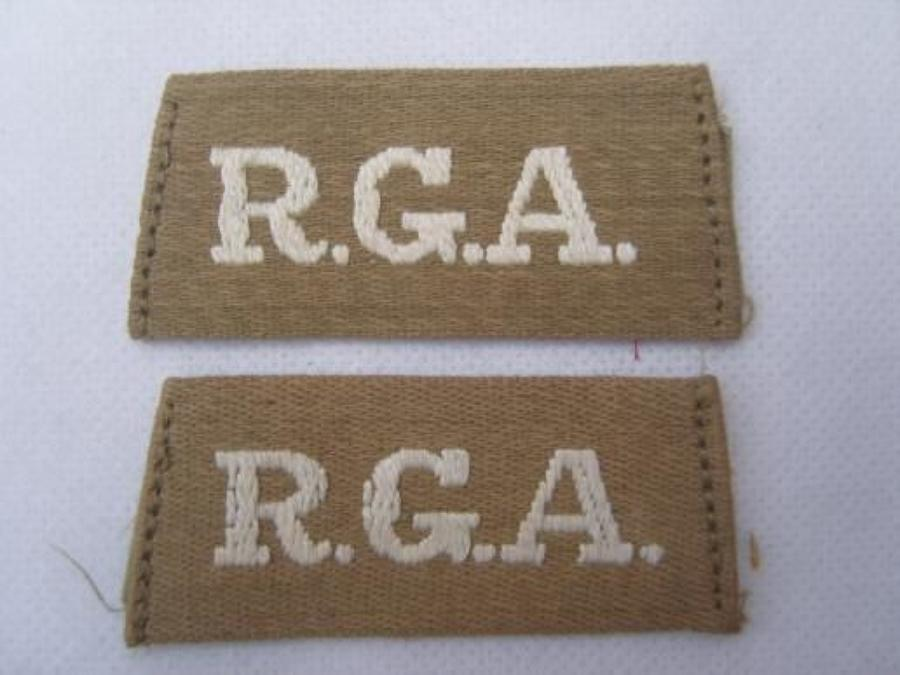 ROYAL GARRISON ARTILLERY BRITISH ARMY WW1 SLIP ON SHOULDER TITLES