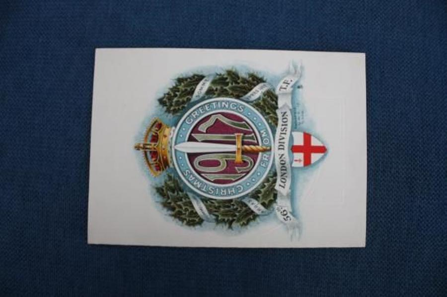 WW1 British Army 56th Division Christmas Card 1917 WW1 .
