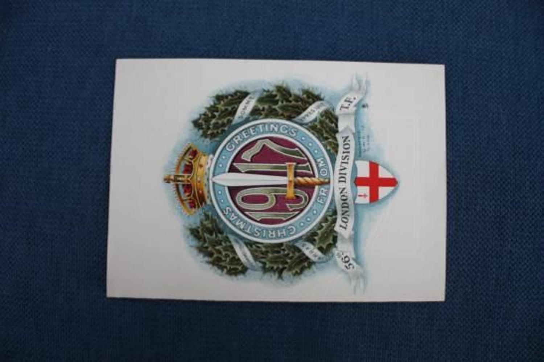 WW1 British Army 56th Division Christmas Card 1917 WW1 .