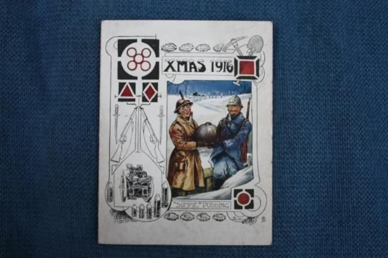 WW1 British Army 32nd Division Christmas Card 1916.