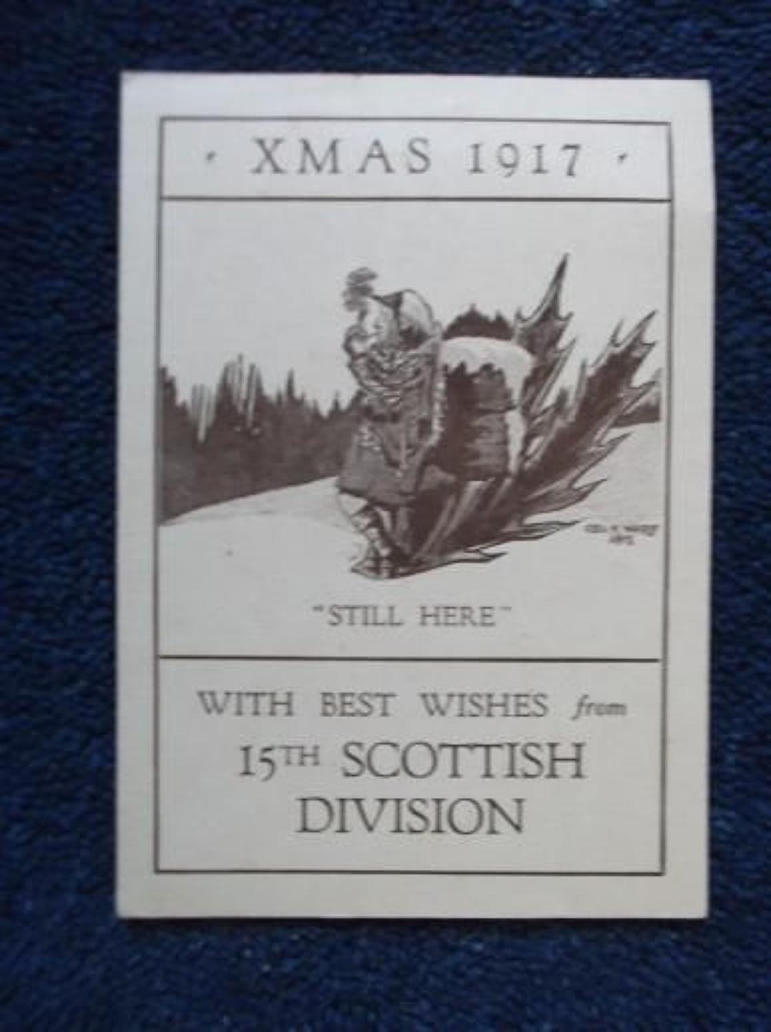 WW1 British Army 15th Scottish Division Christmas Card 1917.