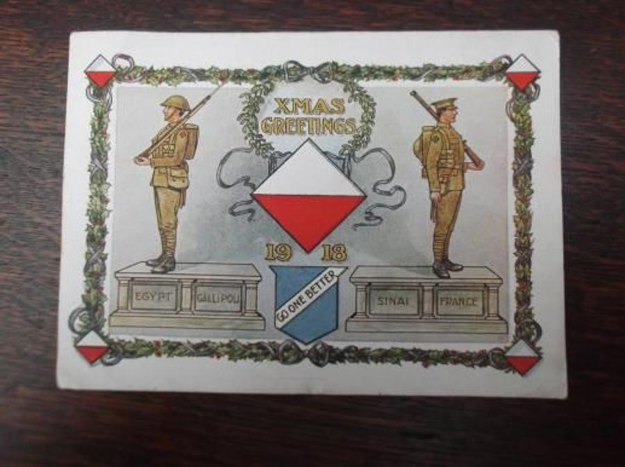 WW1 British Army 42nd East Lancashire Division Christmas Card 1918.