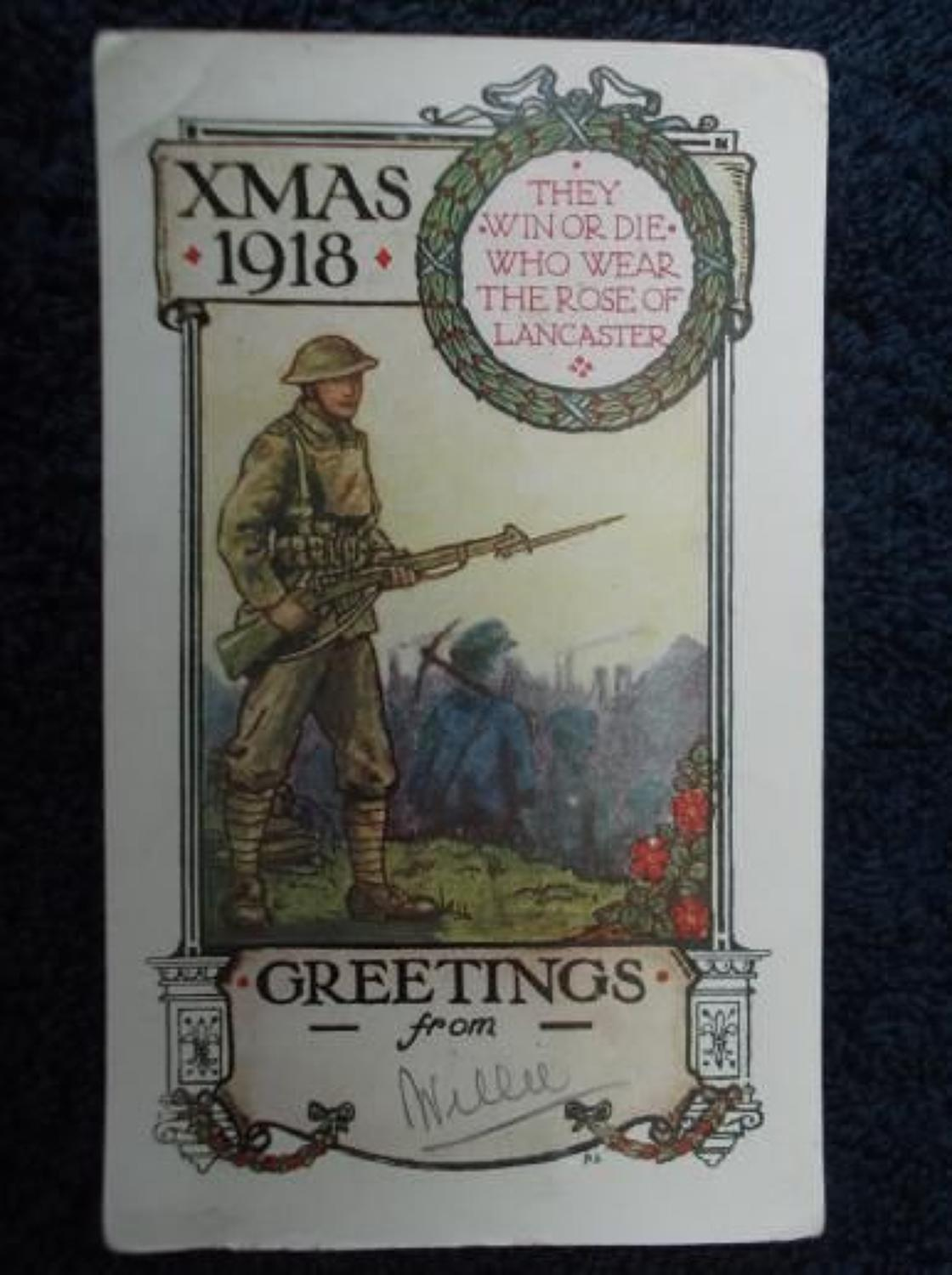 WW1 CHRISTMAS CARD: BRITISH ARMY 55TH DIVISION
