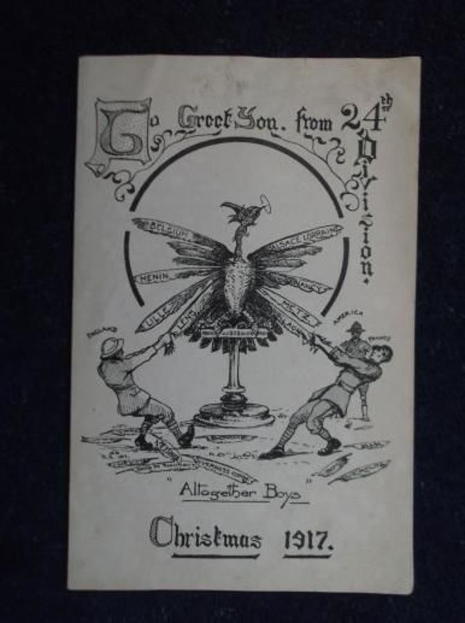 WW1 CHRISTMAS CARD: BRITISH ARMY 24TH DIVISION