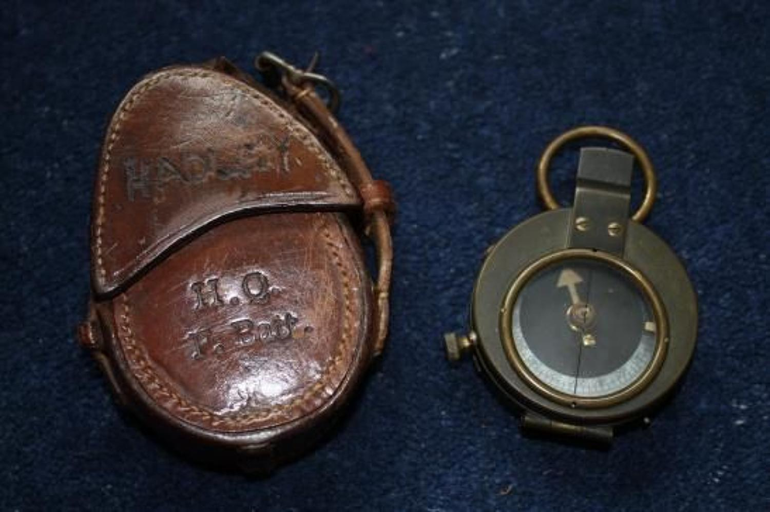 VERNERS PATTERN 1916 NAMED & DATED BRITISH ARMY OFFICERS COMPASS & LEATHER CASE
