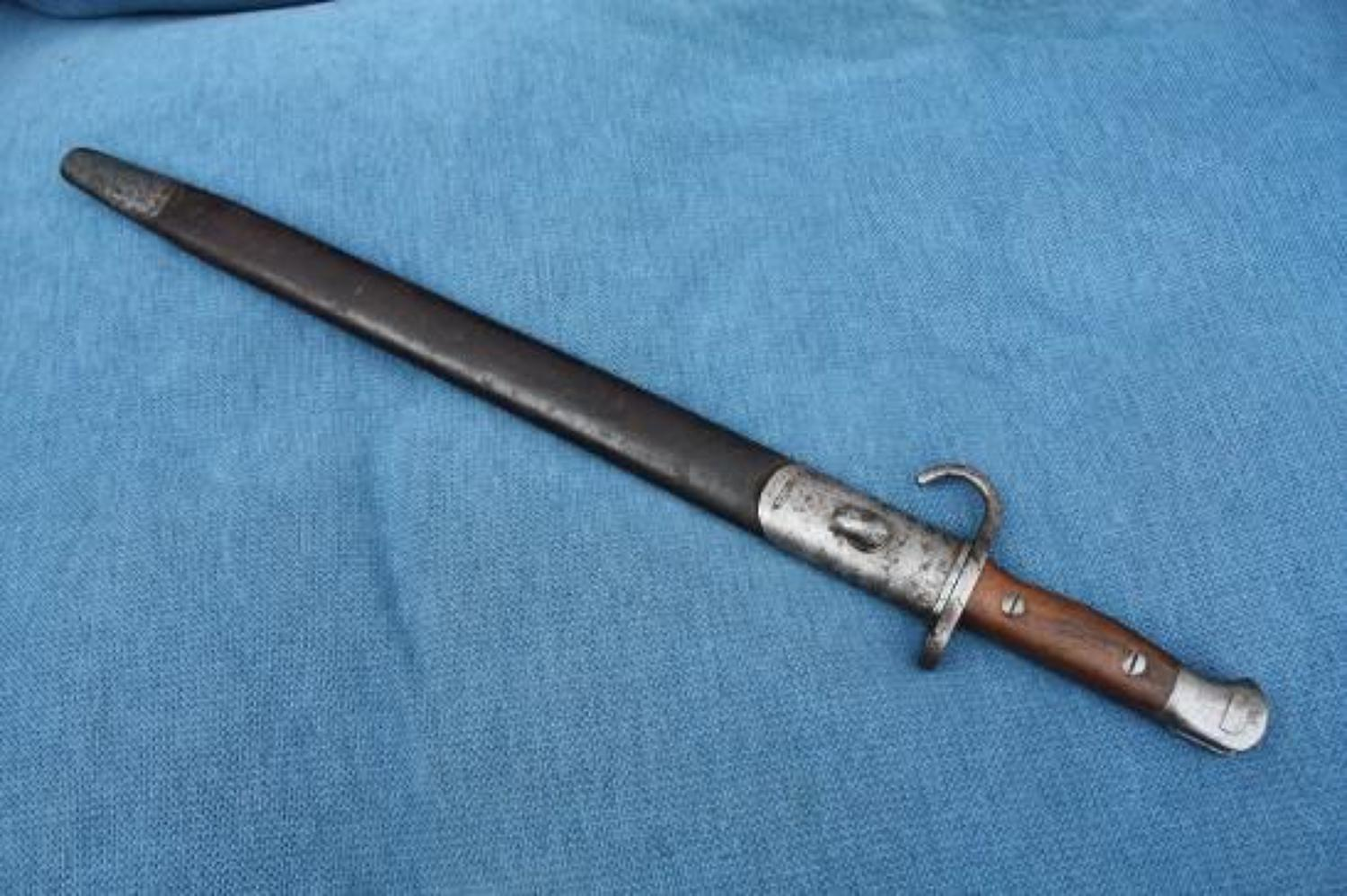 Pre WW1 Hooked Quillion Bayonet 1907 pattern. Dated 1909