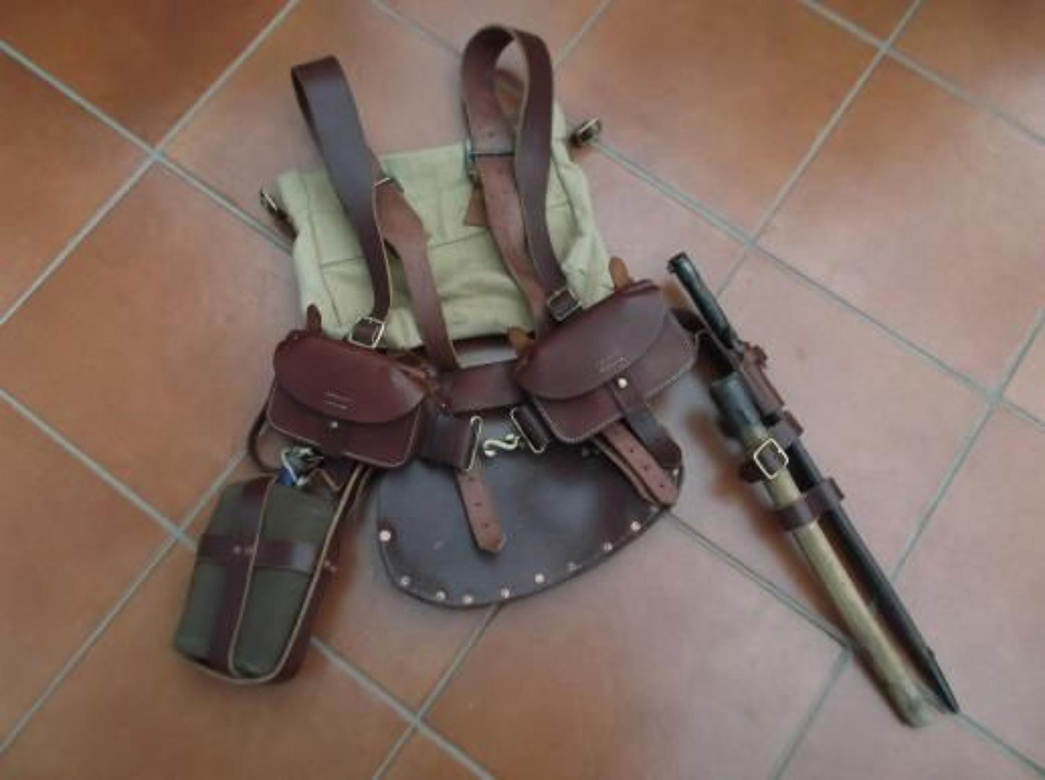 Reproduction British WW1 Leather 1914 pattern Infantry Equipment