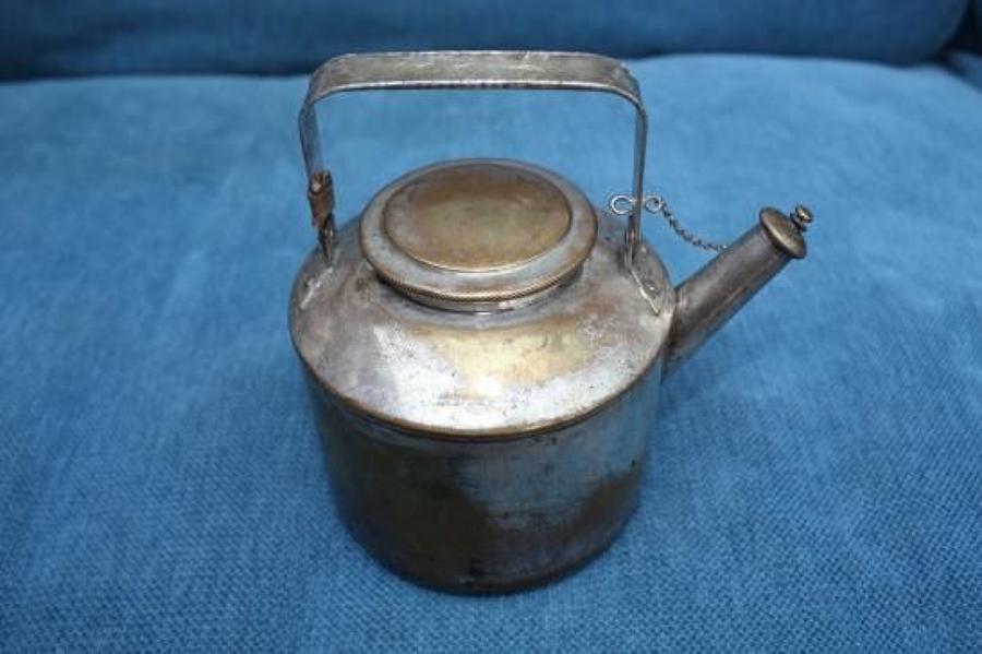 WW1 Officers chromed brass Trench Kettle / Teapot