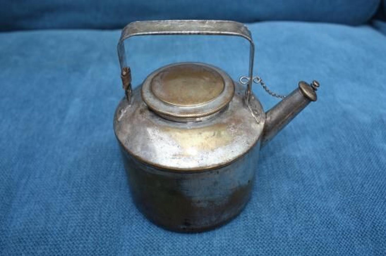 WW1 Officers chromed brass Trench Kettle / Teapot