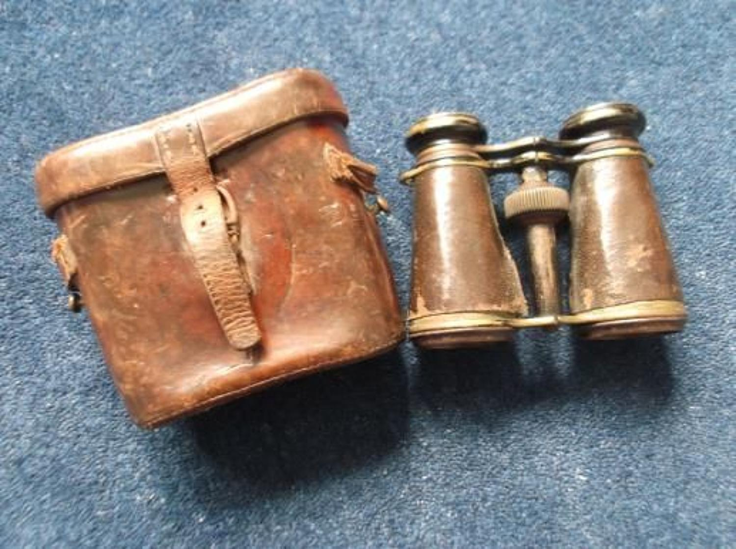 BRITISH ARMY OFFICERS WW1 BINOCULARS FIELD GLASSES