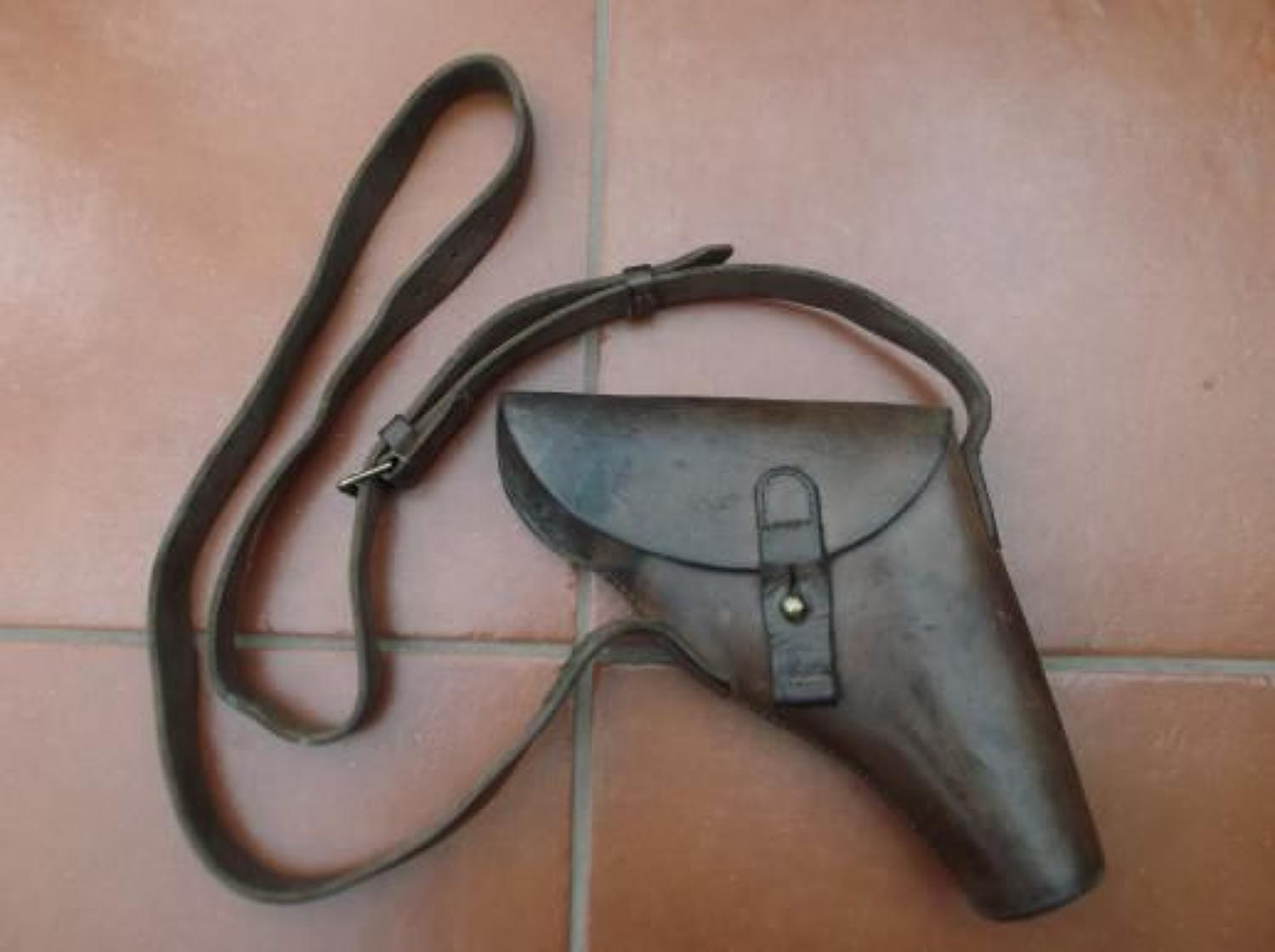 WW1 British Leather Flare Holster and Shoulder Belt