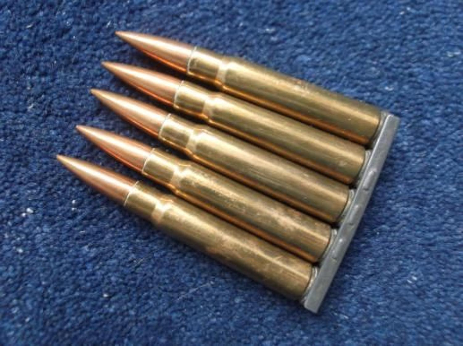 Clip of 5 WW1 Rifle Bullets