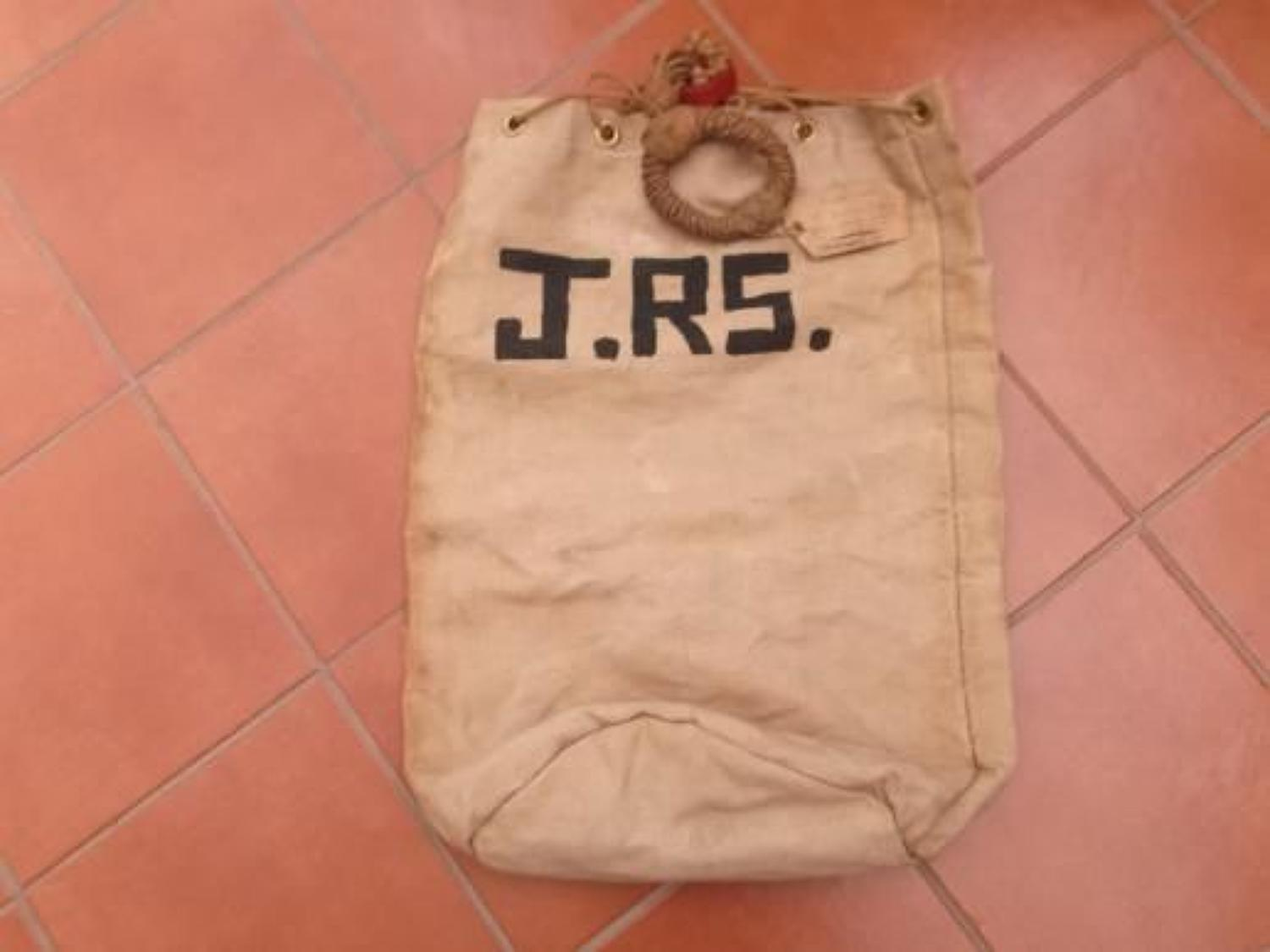Large WW1 Canvas Kit Bag. Named to J Ryder Smith