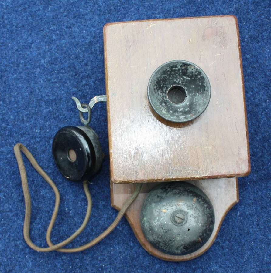 WW1 WAR DEPARTMENT W.D. MARKED WOODEN WALL MOUNTED PHONE