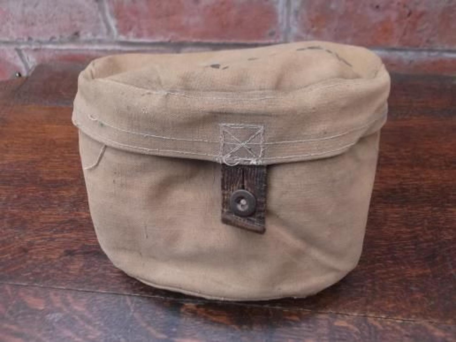 WW1 BRITISH KHAKI COTTON MESS TIN COVER. DATED 1915