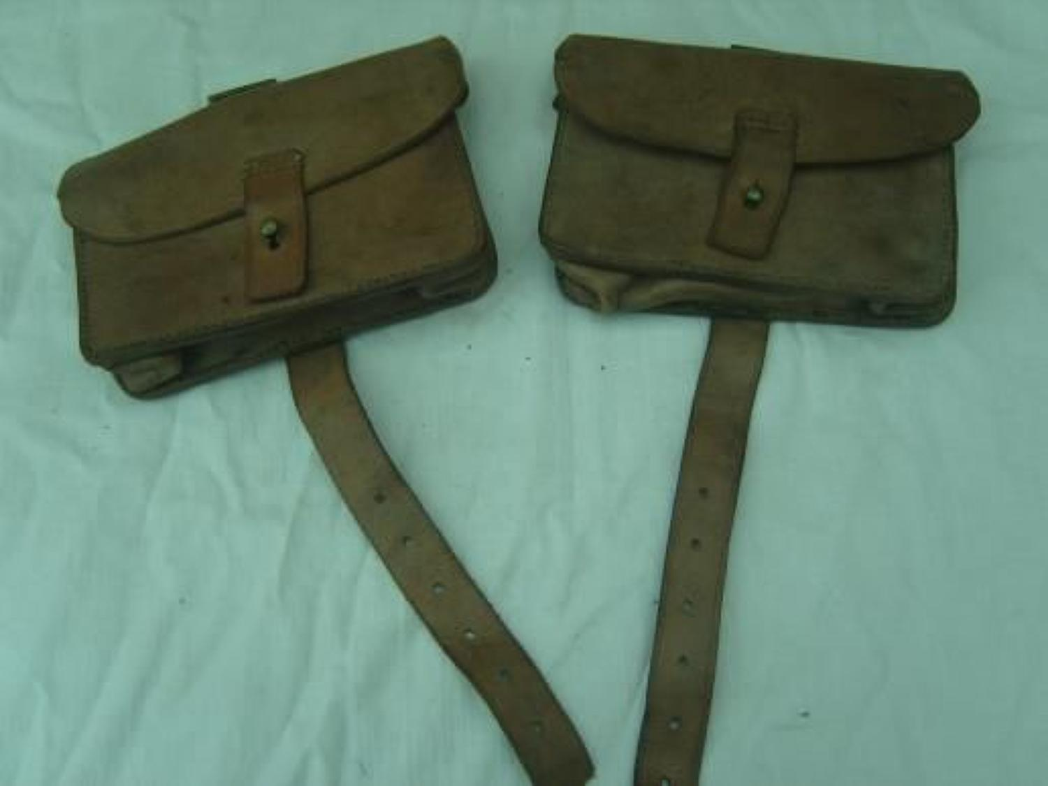 Original British 1914 pattern leather ammunition pouch pair
