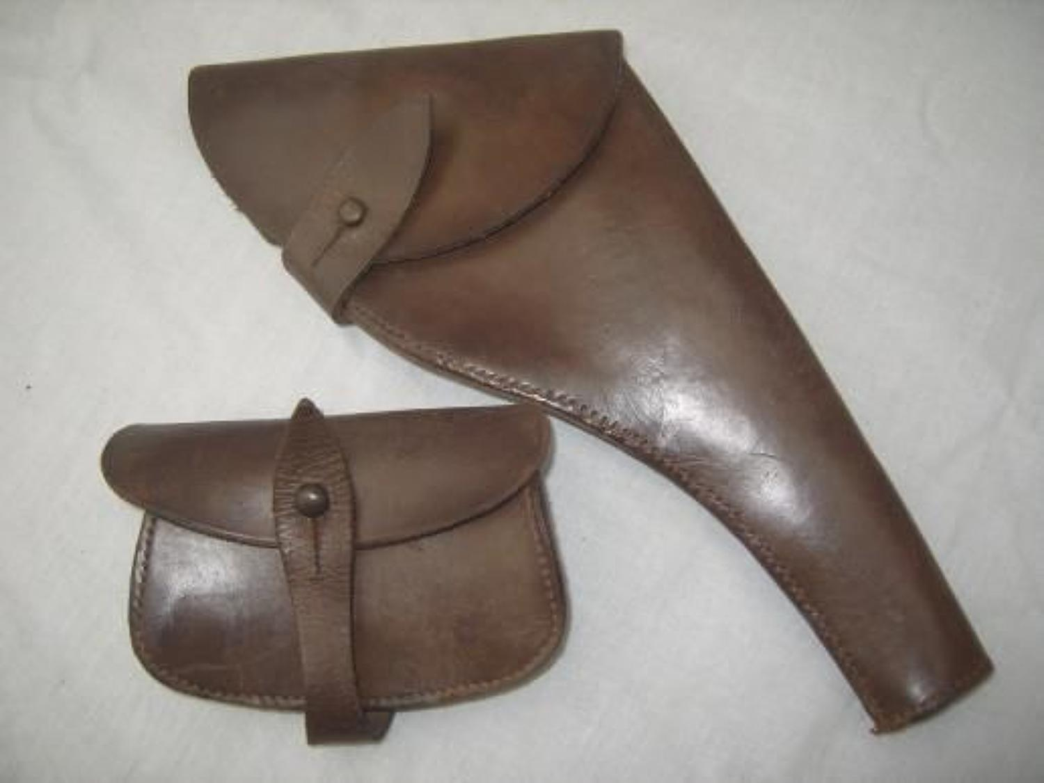 British Army Officers Leather Webley Revolver holster & Ammunition Pouch.