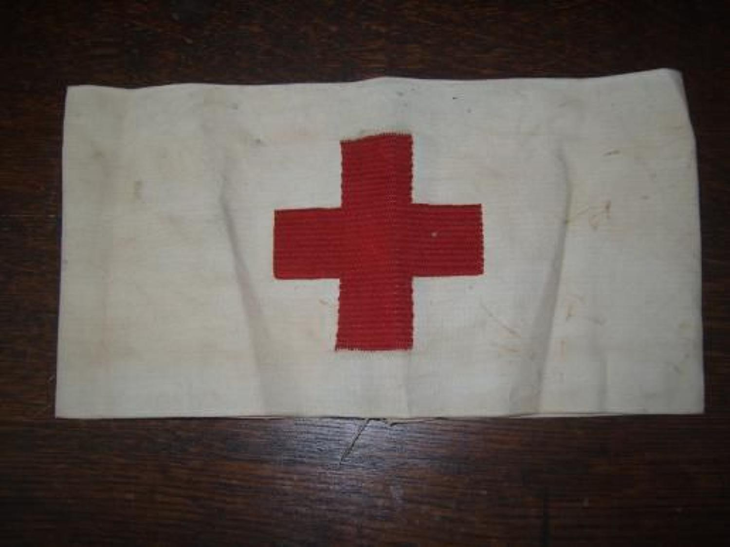 1917 dated Red Cross armband embroidered cross.