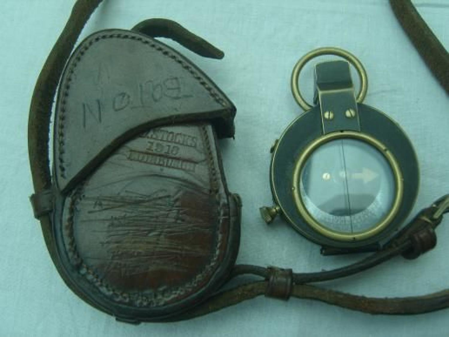 1918 DATED OFFICERS LEATHER COMPASS CASE
