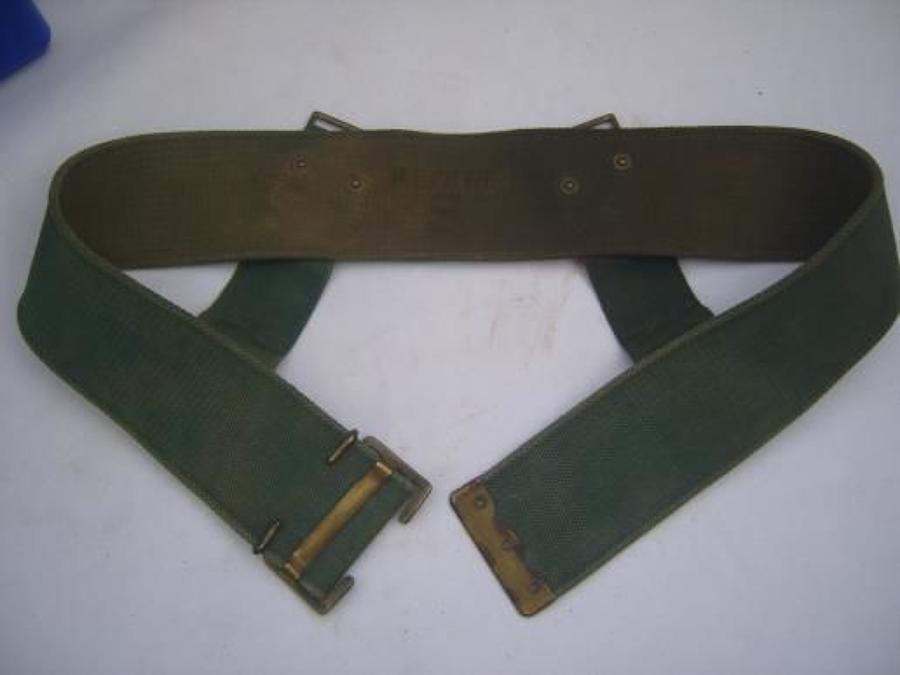 BRITISH ARMY WW1 WEBBING BELT: Dated 1918