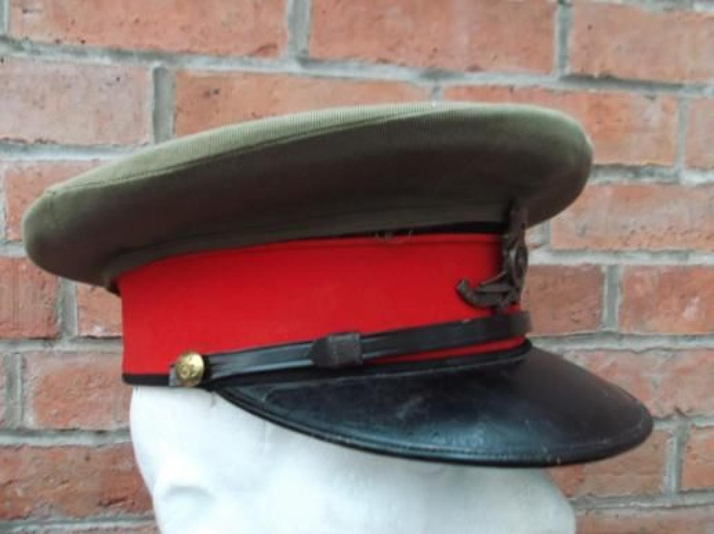 WW1 BRITISH OFFICERS STAFF RANK KHAKI CROWN CAP