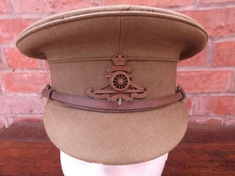 WW1 ROYAL ARTILLERY NAMED OFFICERS KHAKI SERVICE DRESS CAP