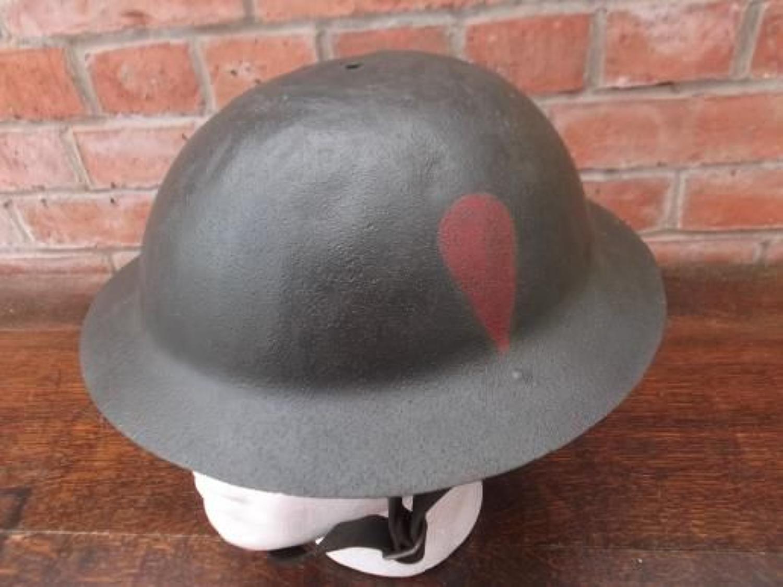 WW1 British Brodie Steel Helmet. Red Hackle Painted Badge