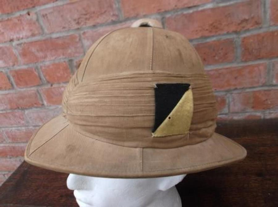 WW1 British Khaki Drill Pith Helmet to the 14th Hussars